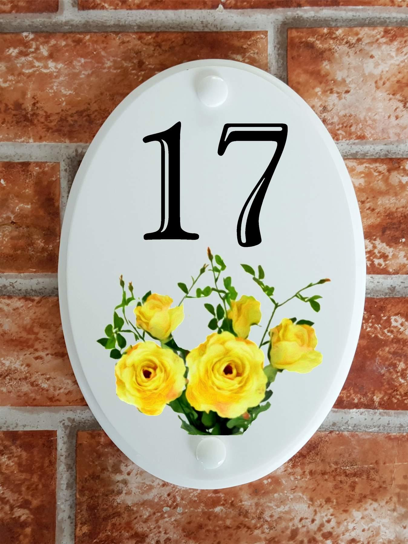house number plate with yellow roses