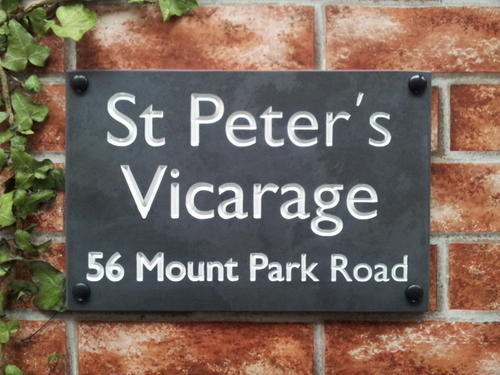Large slate sign with name and address 300mm by 200mm