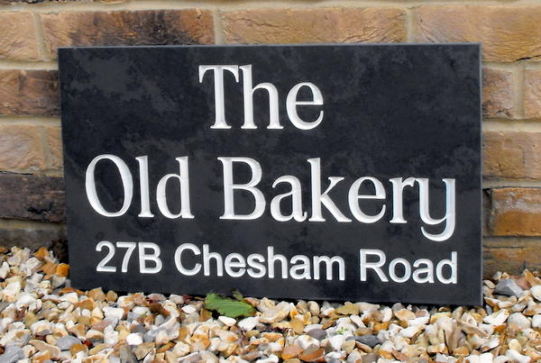 Large v-carve engraved slate house sign - 500mm x 300mm