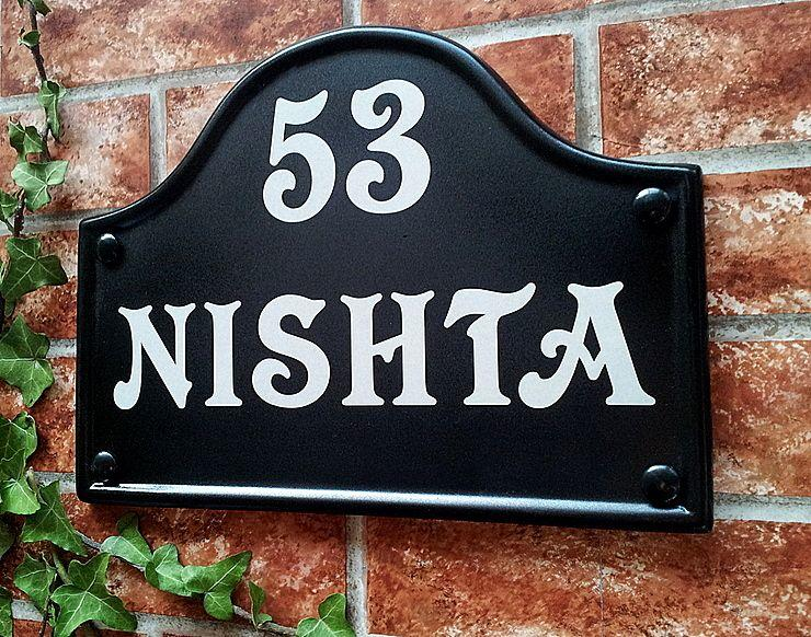 House name sign in black with number 53 290mm x 220mm