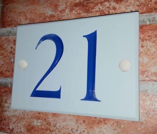 Illustration with blue inlaid number