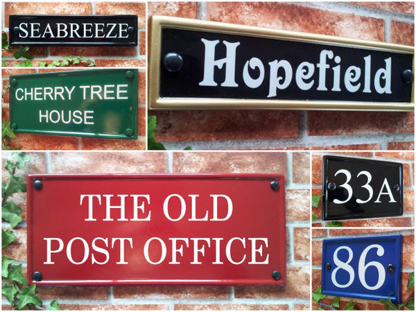 Rectangular house plaques in different colours and shapes