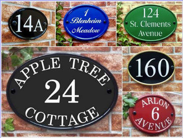 reflective oval house signs