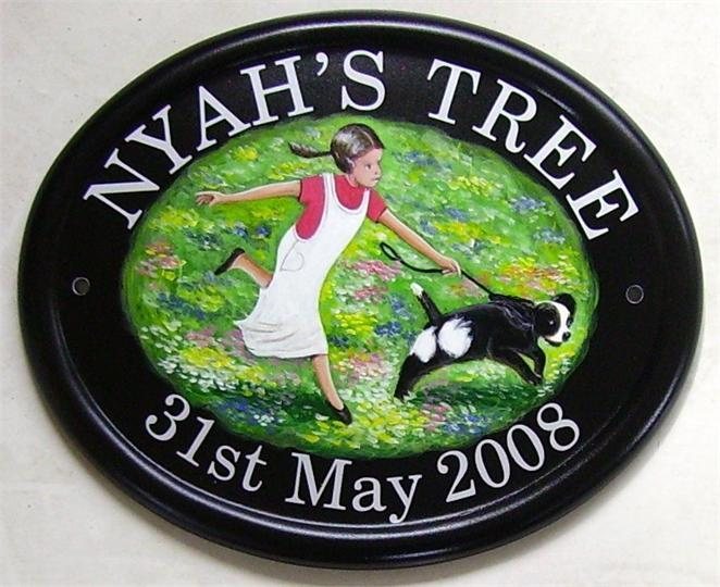 Girl with dog plaque
