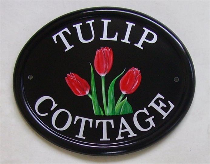 Tulips design cottage sign