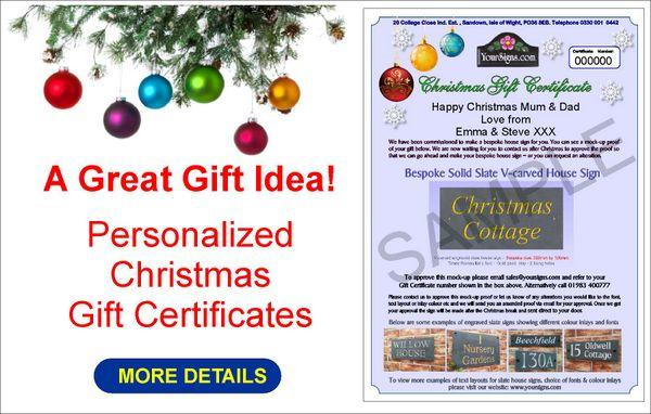 Personalised Christmas Gift Certificates