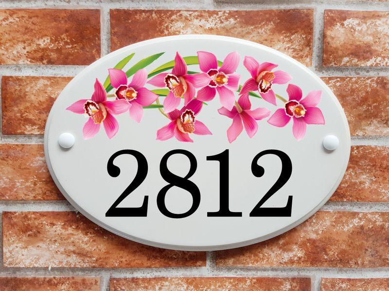 Large house number plate with orchids