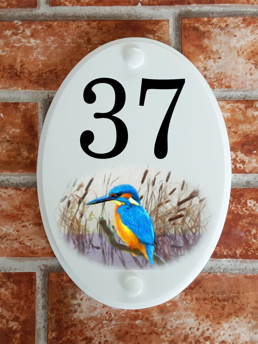 House number plaque with kingfisherl picture motif