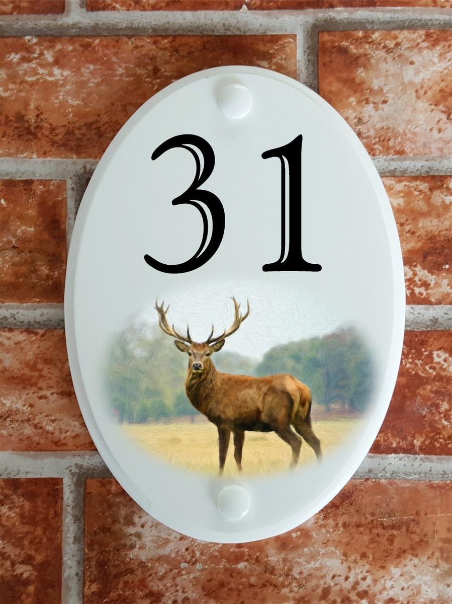House numbers plaque with red deer stag picture motif