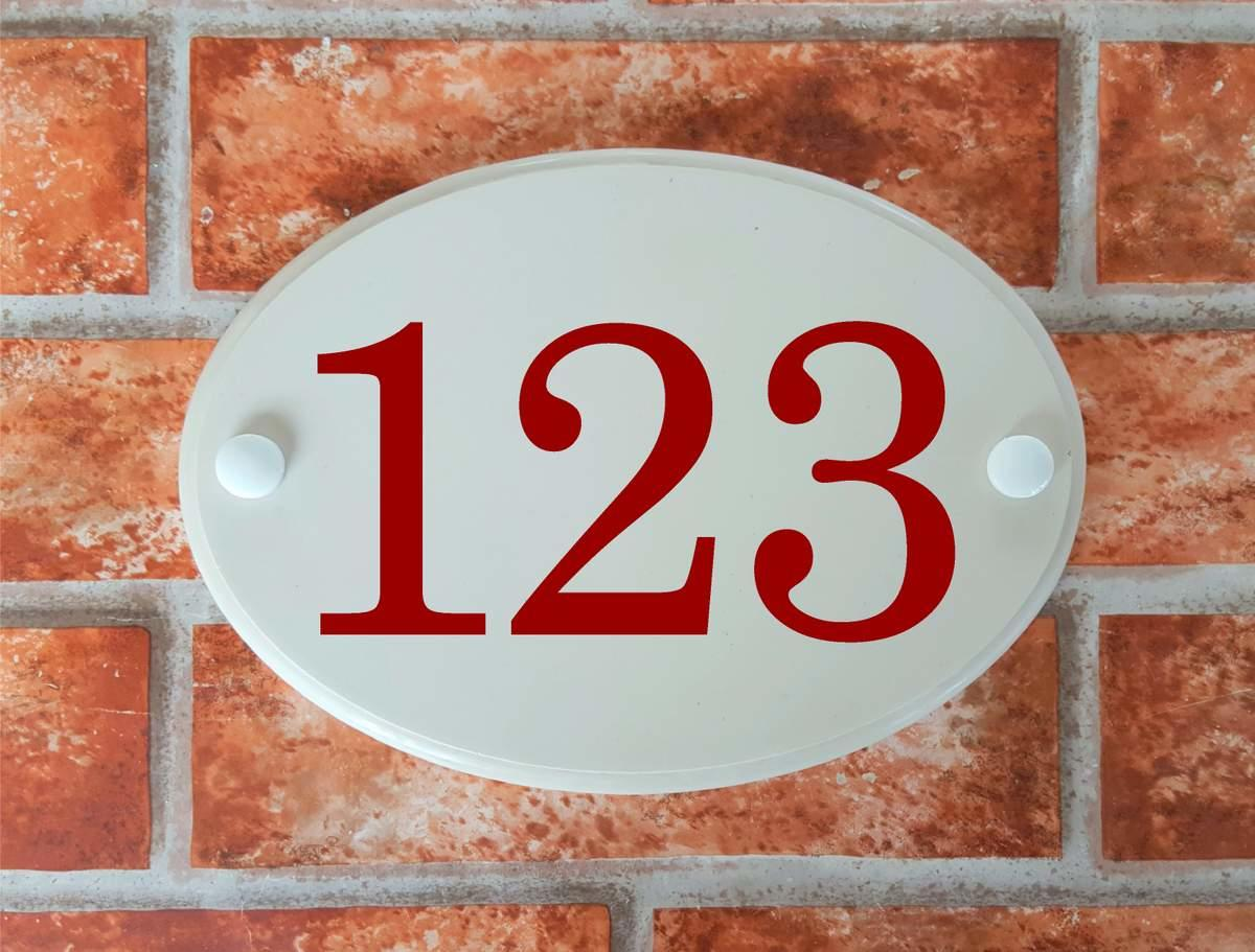 3 digit house number plate oval shape