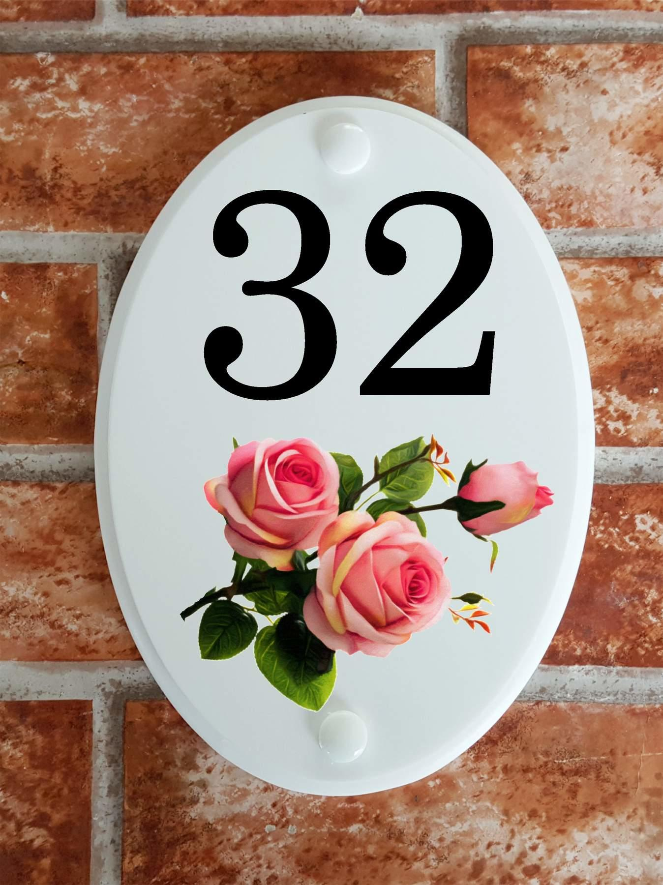 house number plaque with pink roses