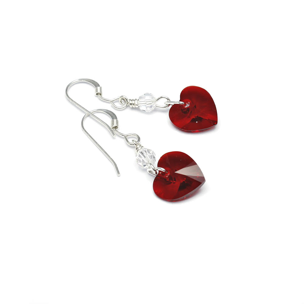 Siam Crystal heart Earrings