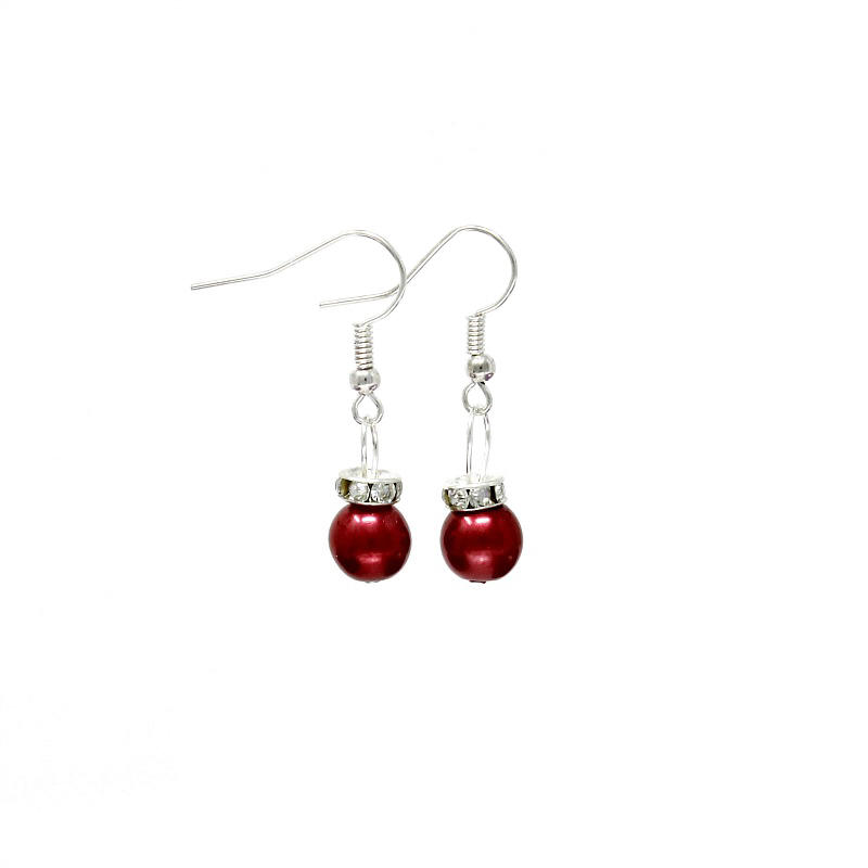 Red christmas bauble earrings