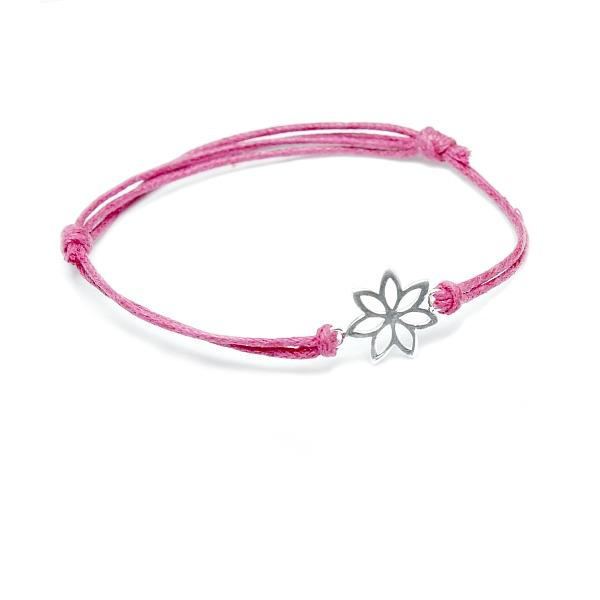 pink cotton flower bracelet