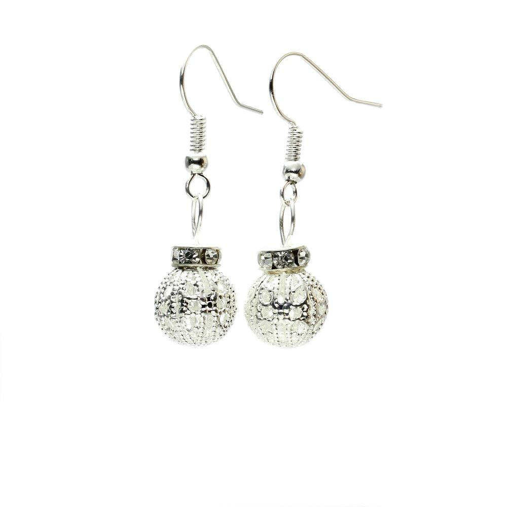 Silver Filigree Bauble Earrings