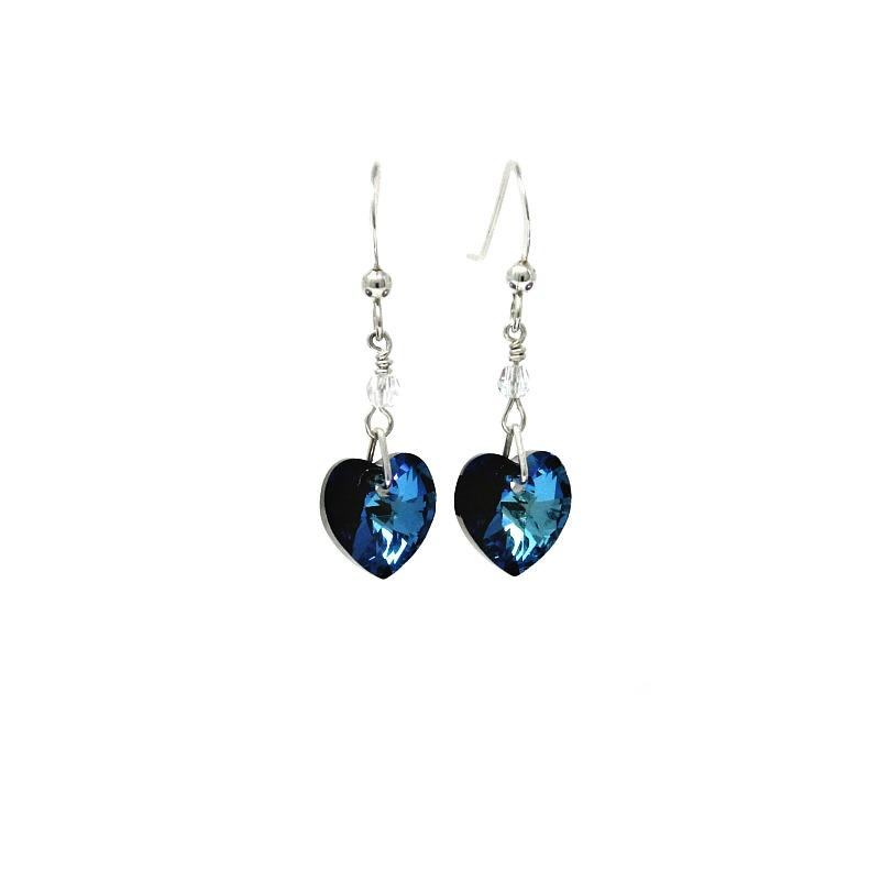 Bermuda Blue Crystal heart Earrings