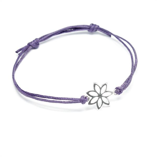 purple cotton flower bracelet