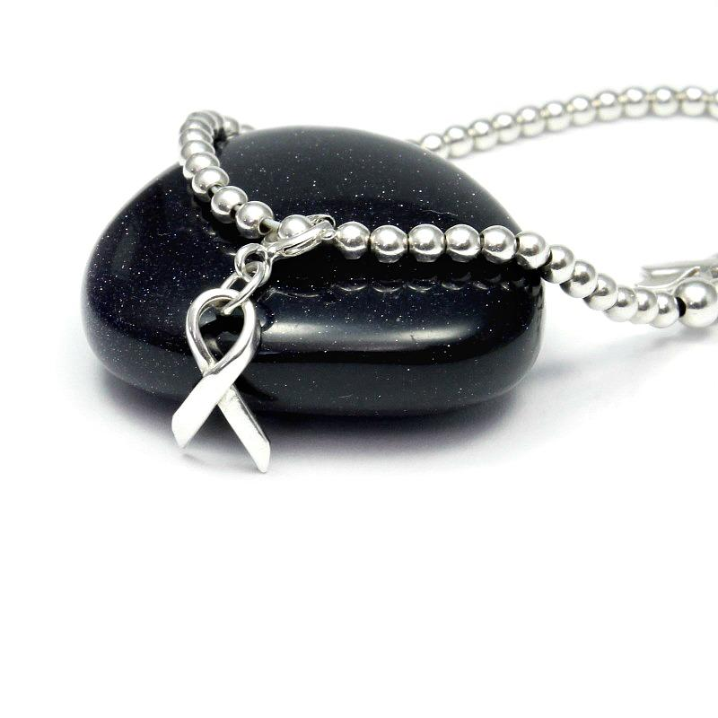 awareness ribbon silver charm