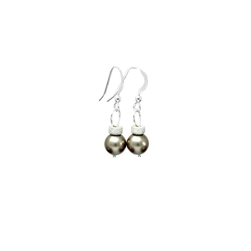 Platinum christmas bauble earrings