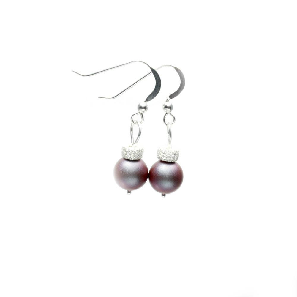 red swarovski pearl bauble earrings