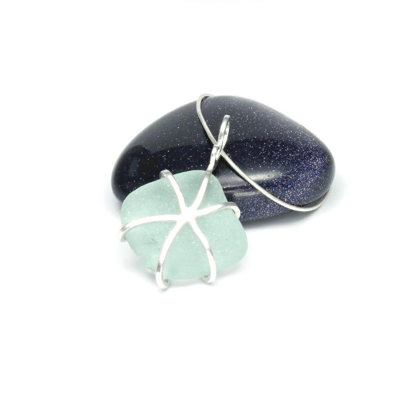 sterling silver & sea glass pendant