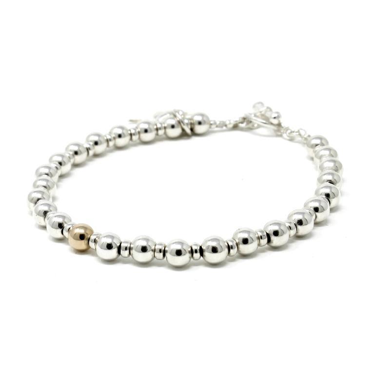 sterling silver gold bracelet silver bead bracelet