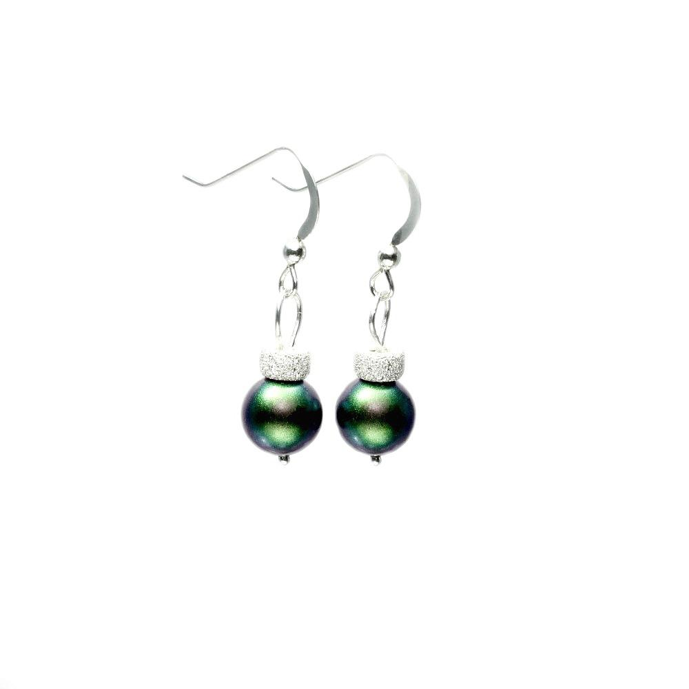 Swarovski christmas bauble earrings handmade christmas for Sterling silver christmas jewelry