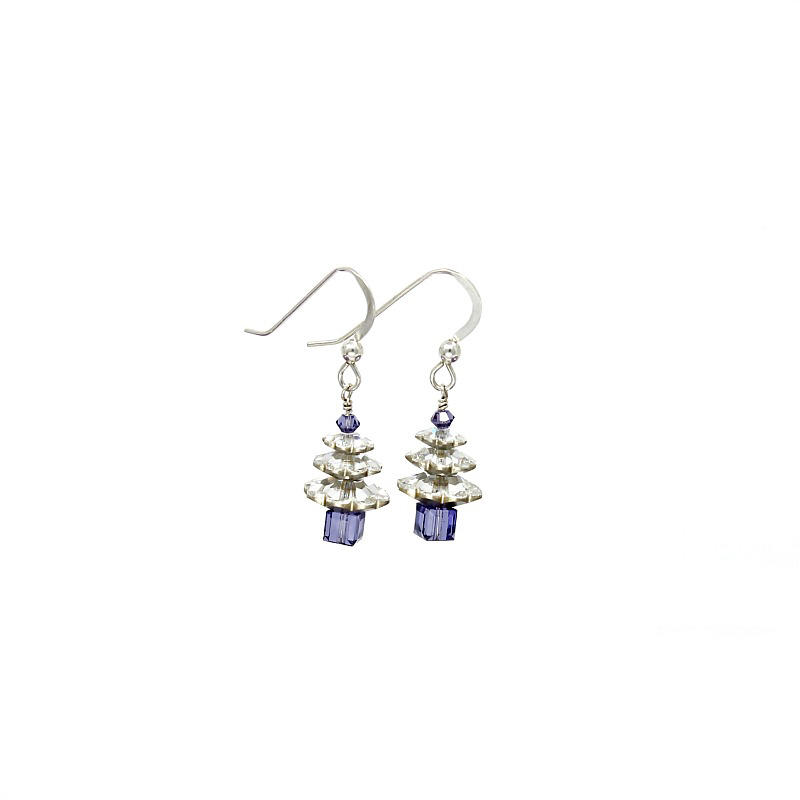 silver crystal christmas tree earrings