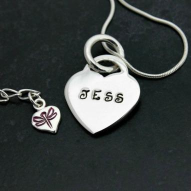 Hand Stamped heart pendant