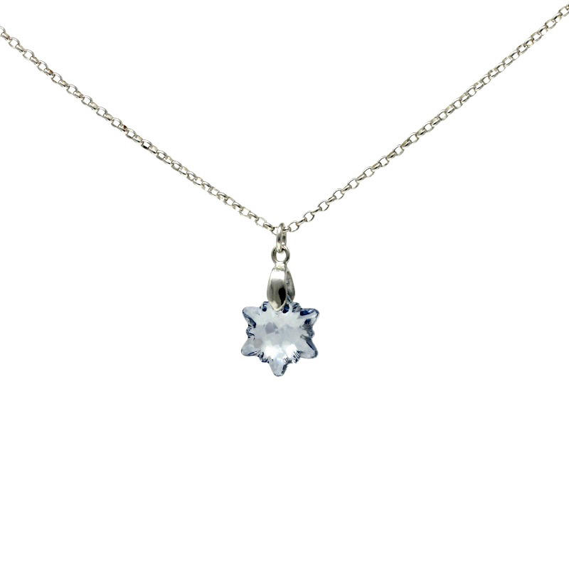 Blue Crystal Edelweiss Silver Pendant