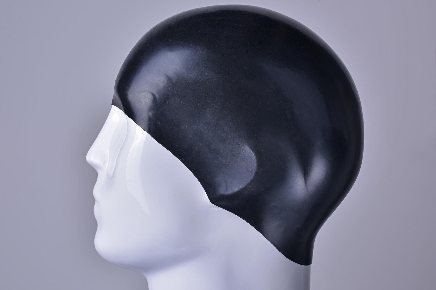 3D Dome Racing Swimming Cap in black
