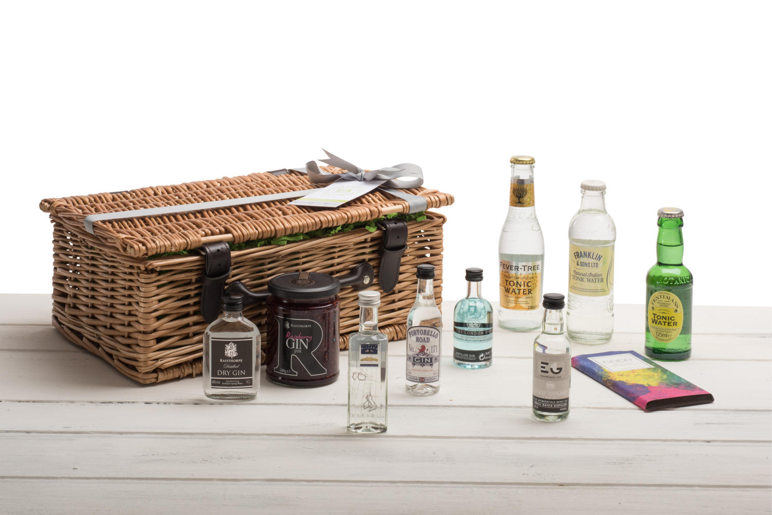 The Gin Miniatures Hamper - Chocolate & Jam - Wicker Basket