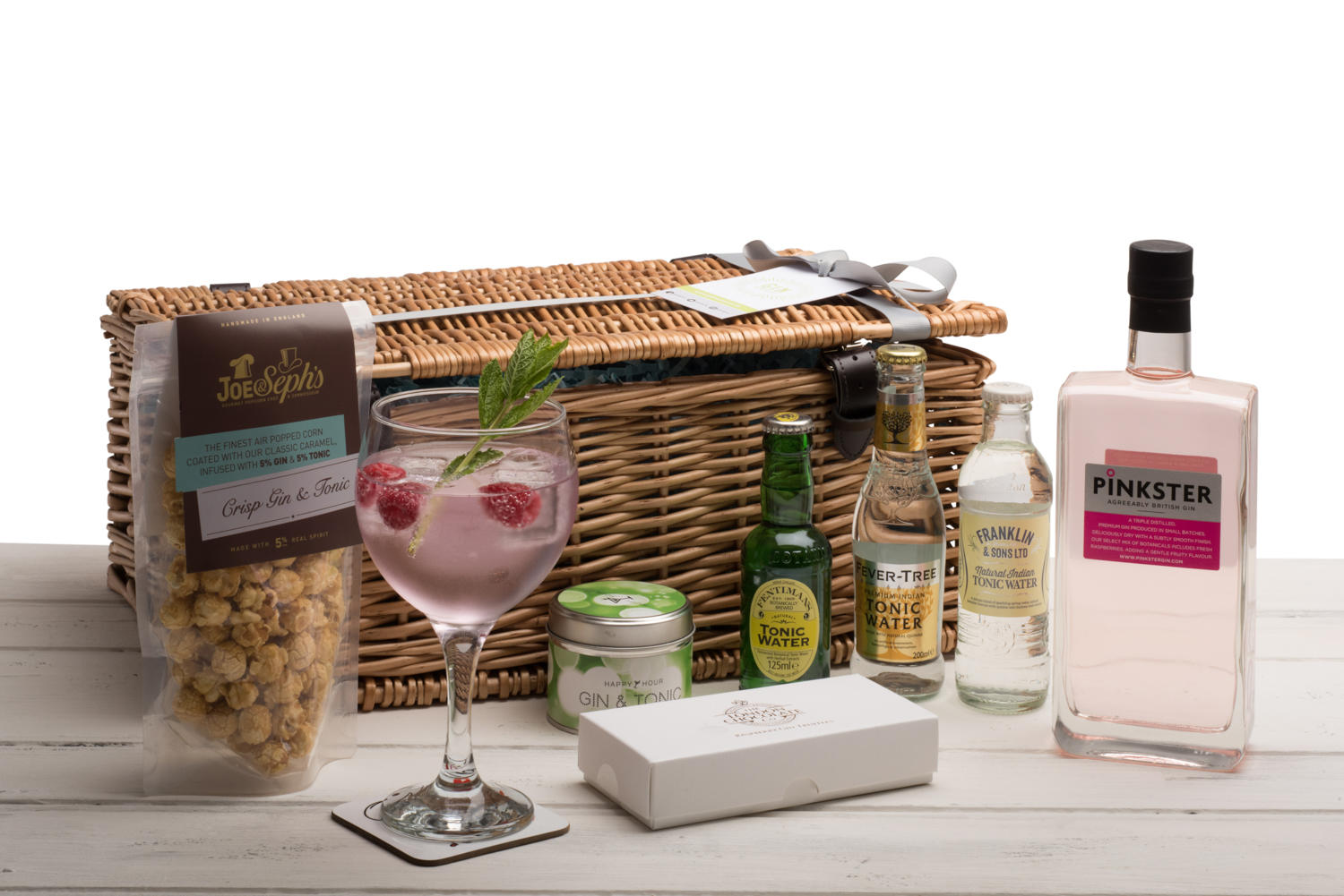 Pinkster Gin Hamper (Wicker Basket)
