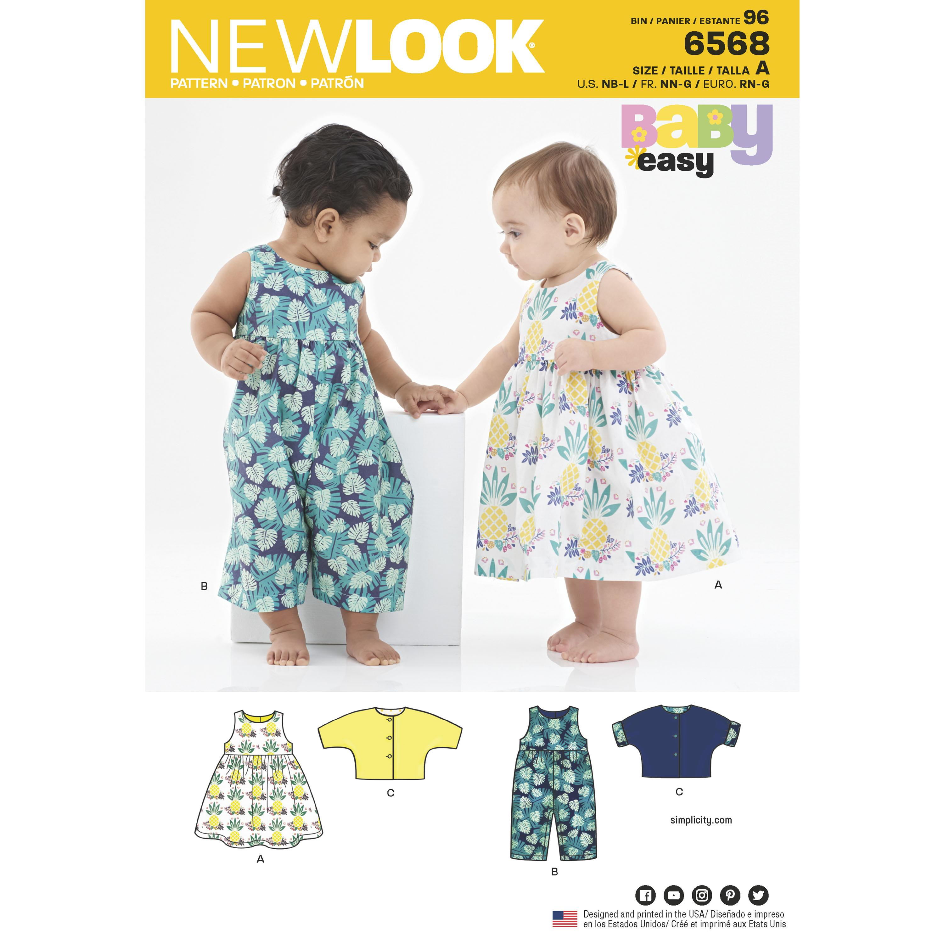 NewLook N6568 Babies' Dress, Romper and Jacket