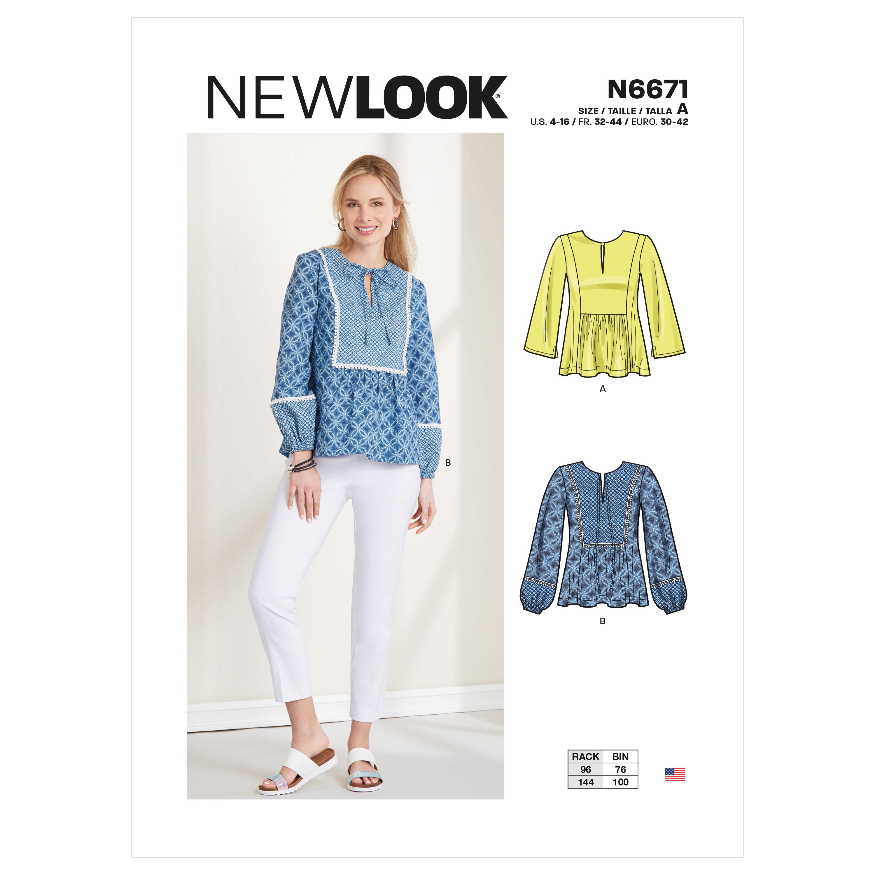 New Look Sewing Pattern N6671 Misses' Top