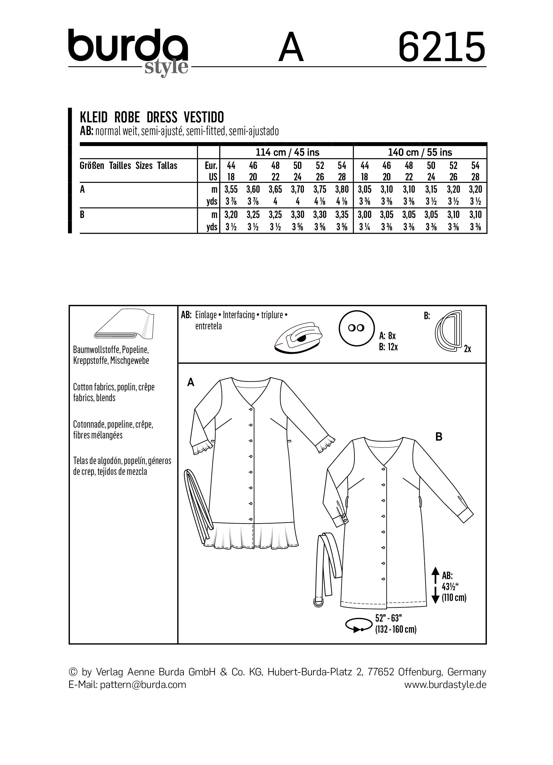 Burda B6215 Dress with Button Fastening Sewing Pattern