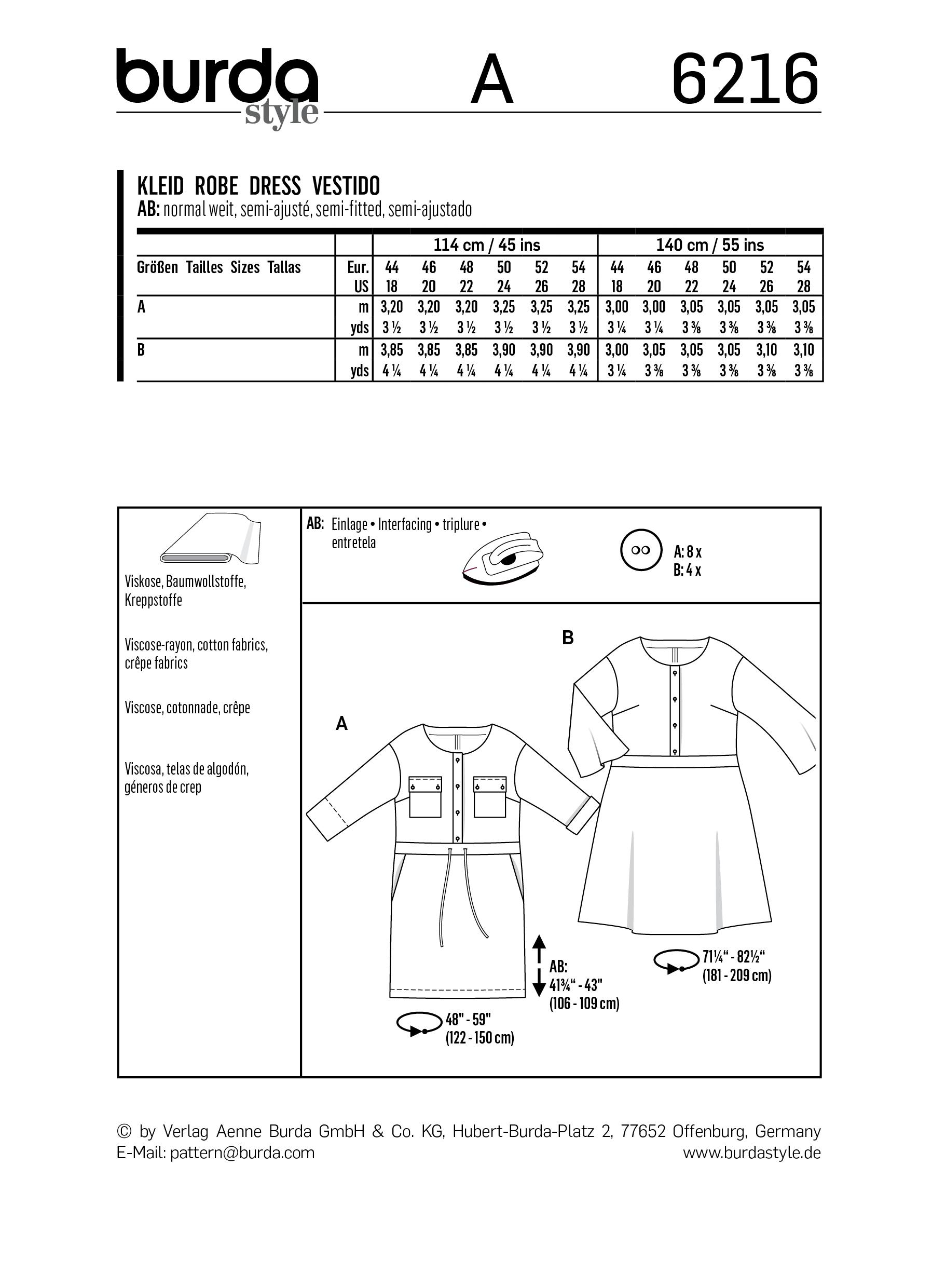 Burda B6216 Dress with Front Button Fastening and a Band at the Waist Sewing Pattern
