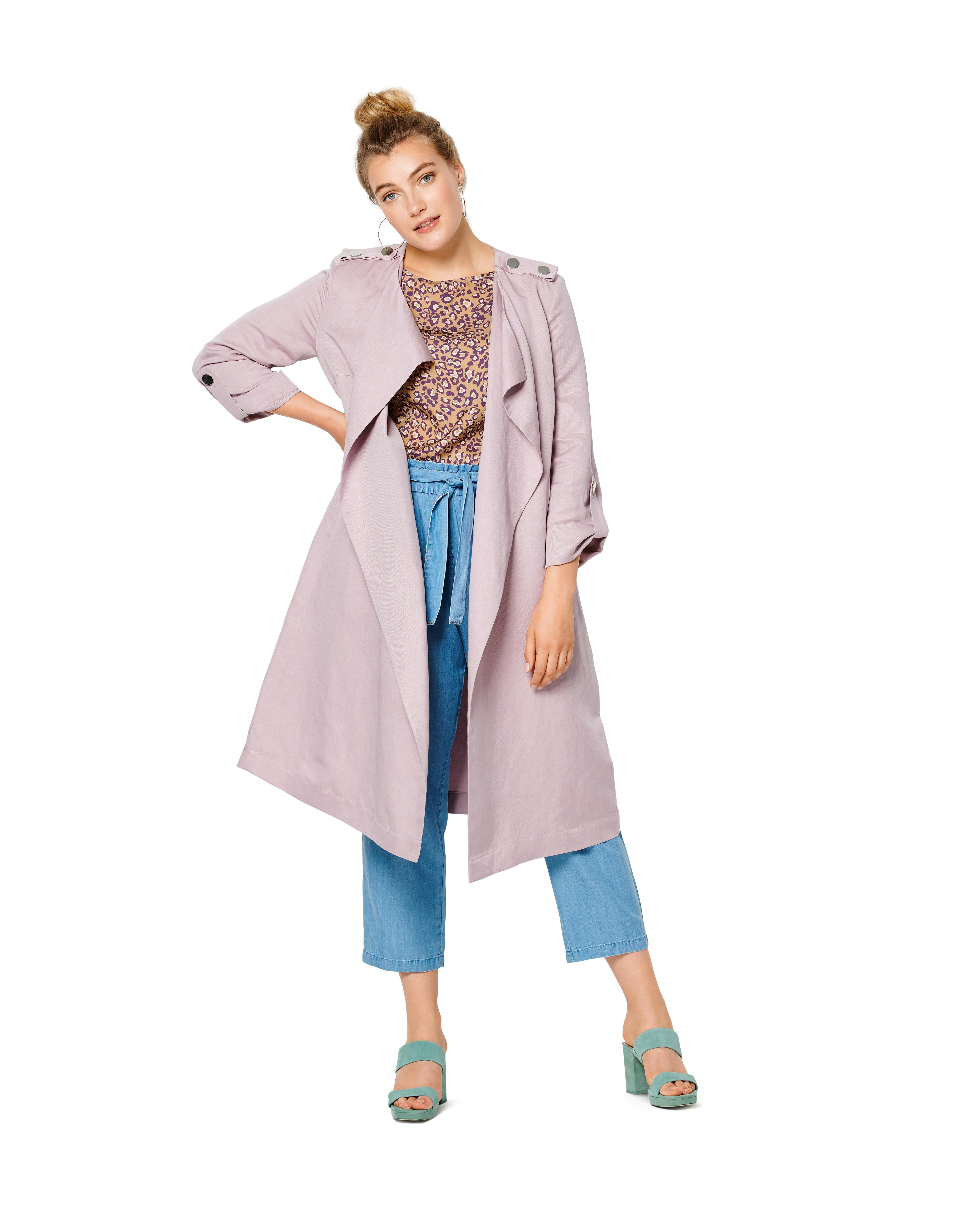 Burda B6213 Plus Size Coat without Collar or  Fastening