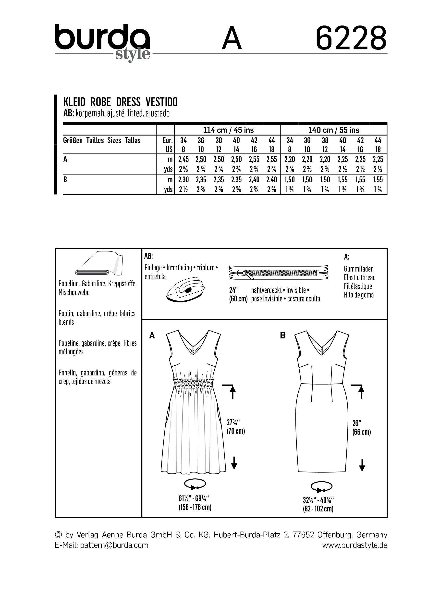 Burda B6228 Dress with Shirring Sewing Pattern