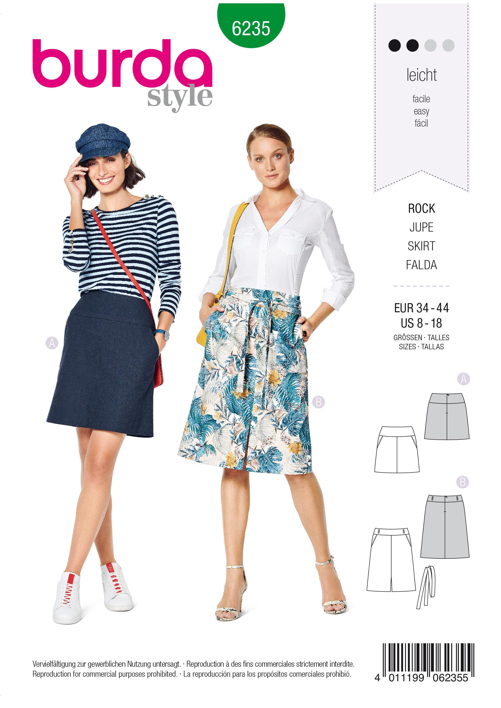 Burda B6235 Skirt with Yoke &  Hip Yoke Pockets Sewing Pattern