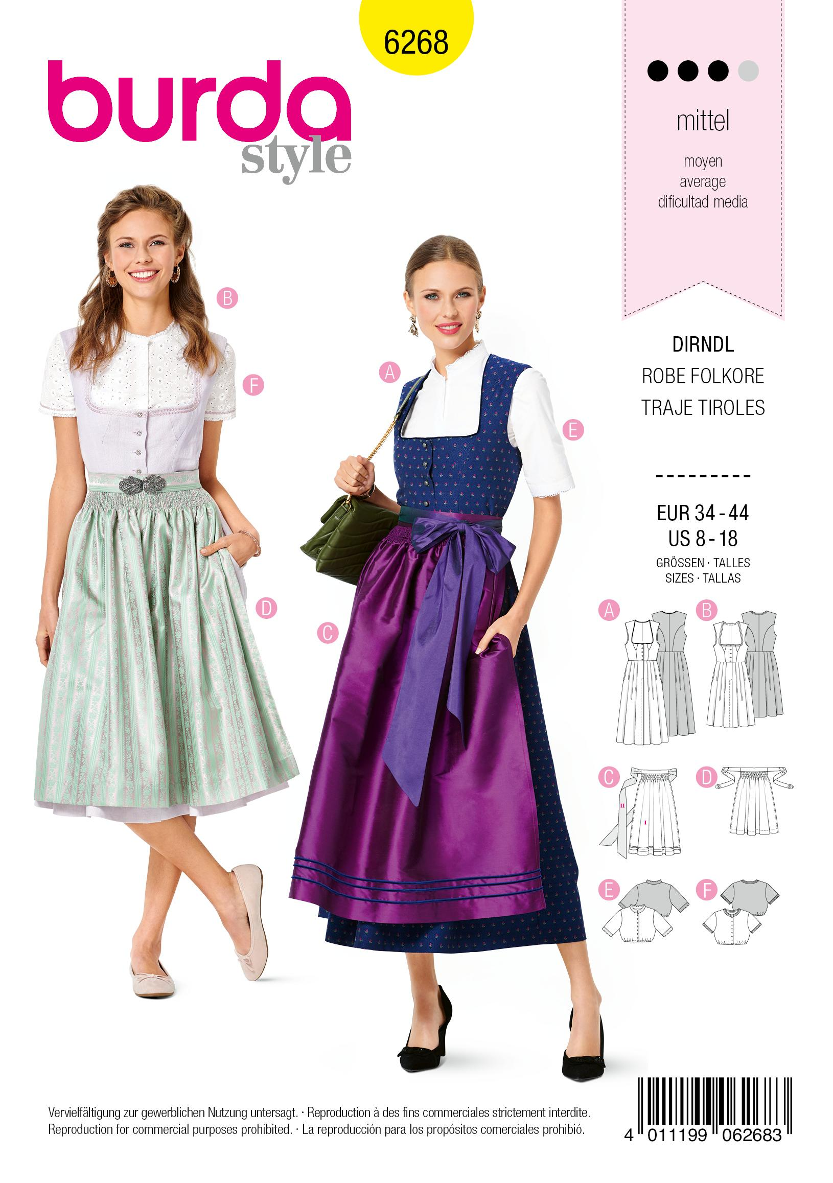 Burda 6268 Misses' pinafore Dress in Dirndl-Style, Blouse and Apron