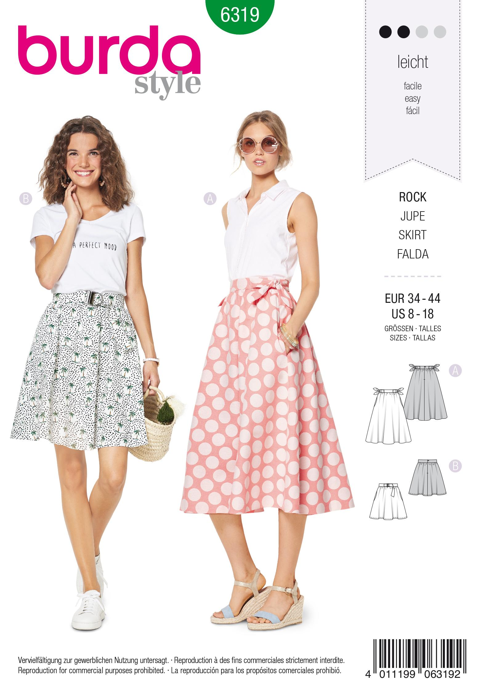 Burda 6319 Misses' bell shaped skirt