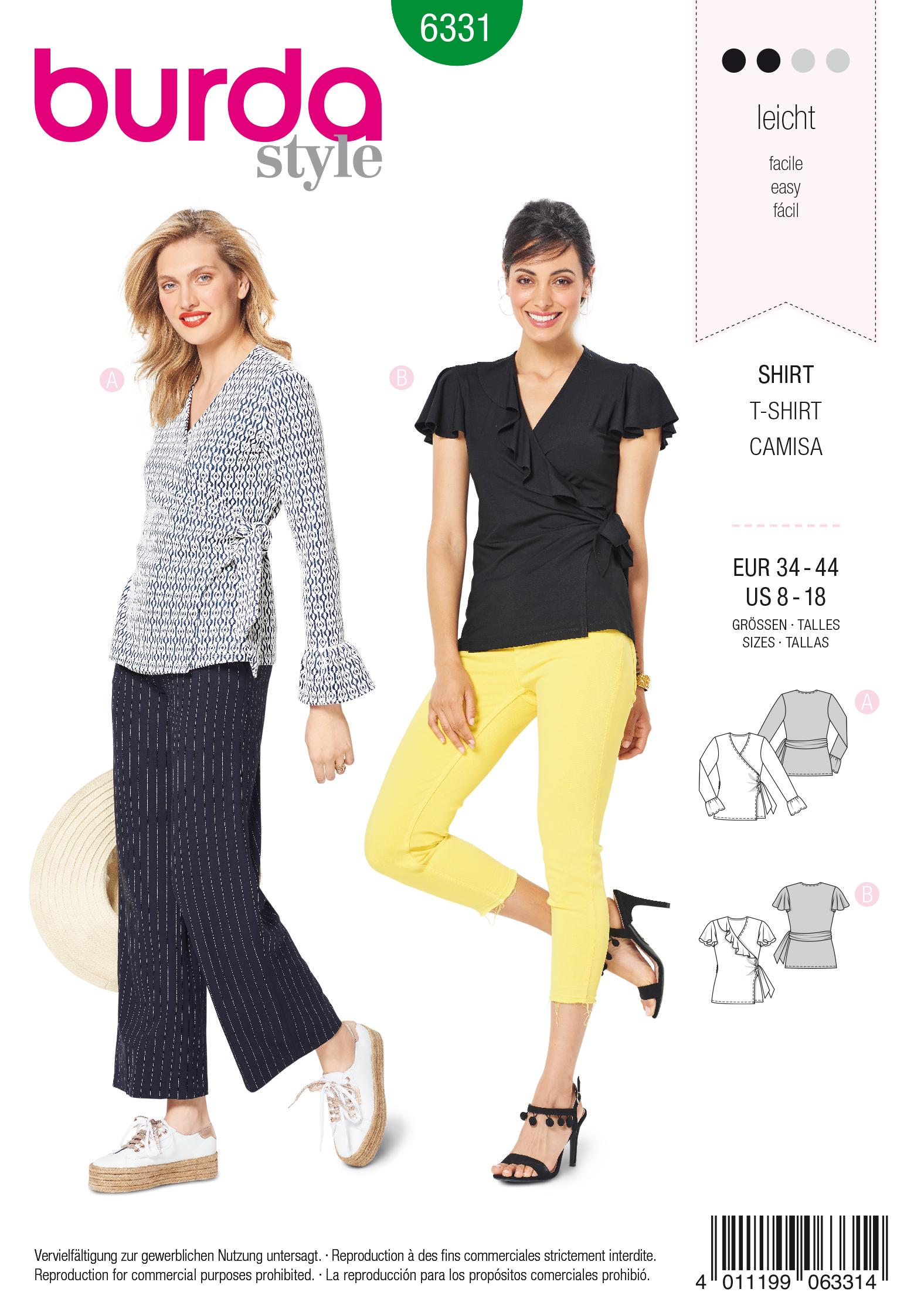 Burda 6331 Misses' wrap top