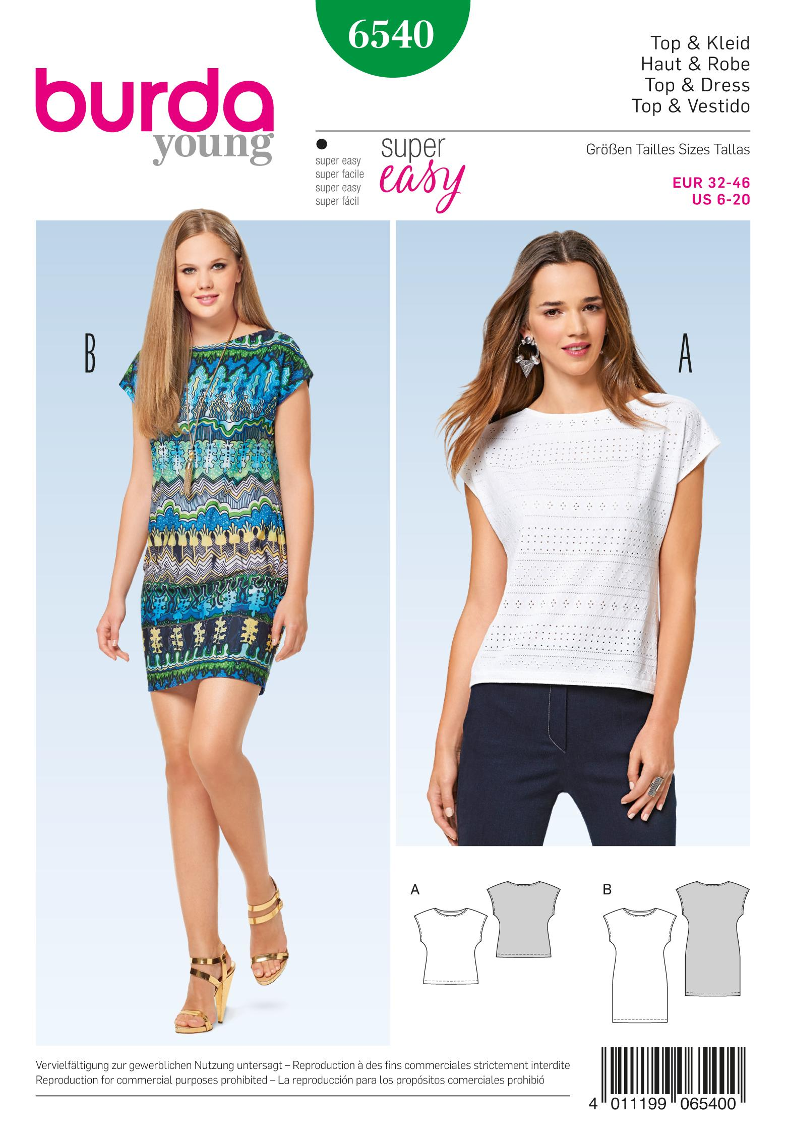 Burda B6540 Misses' Top and Dress