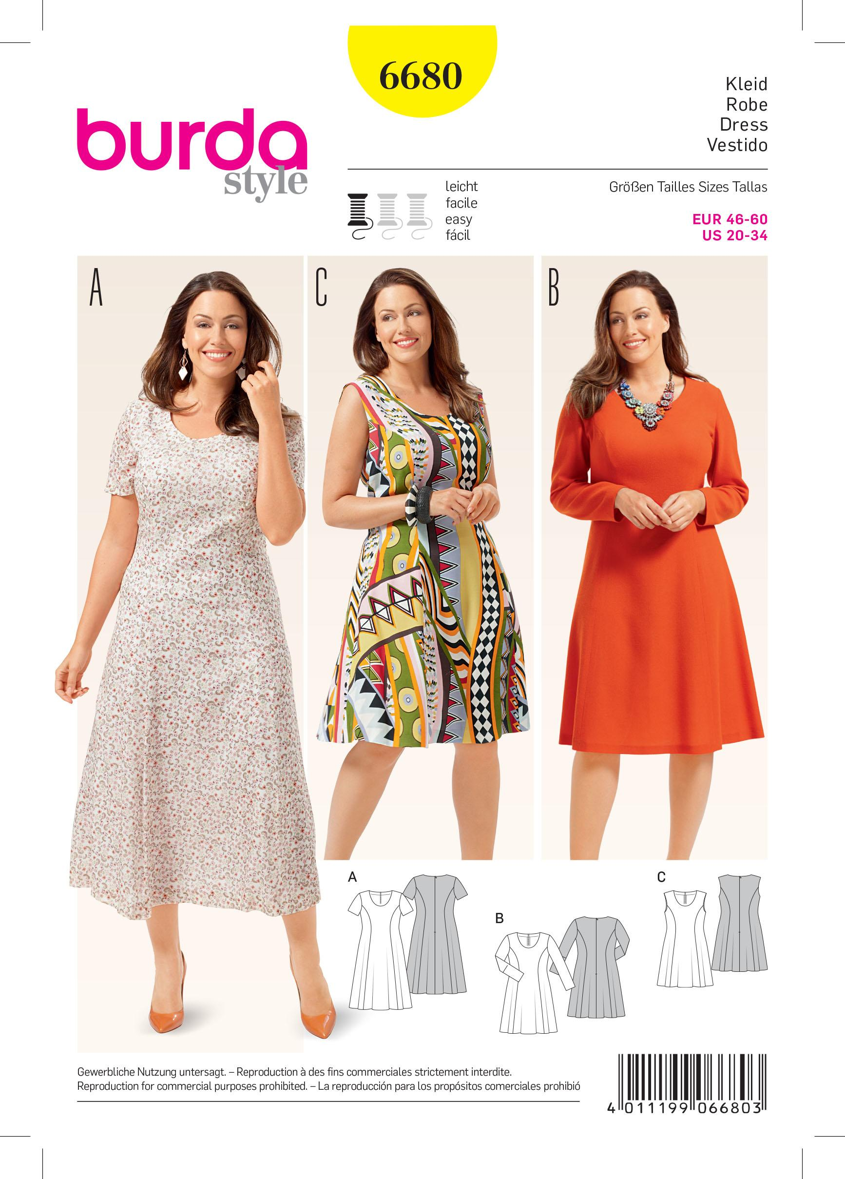 Burda B6680 Women's Dress Sewing Pattern