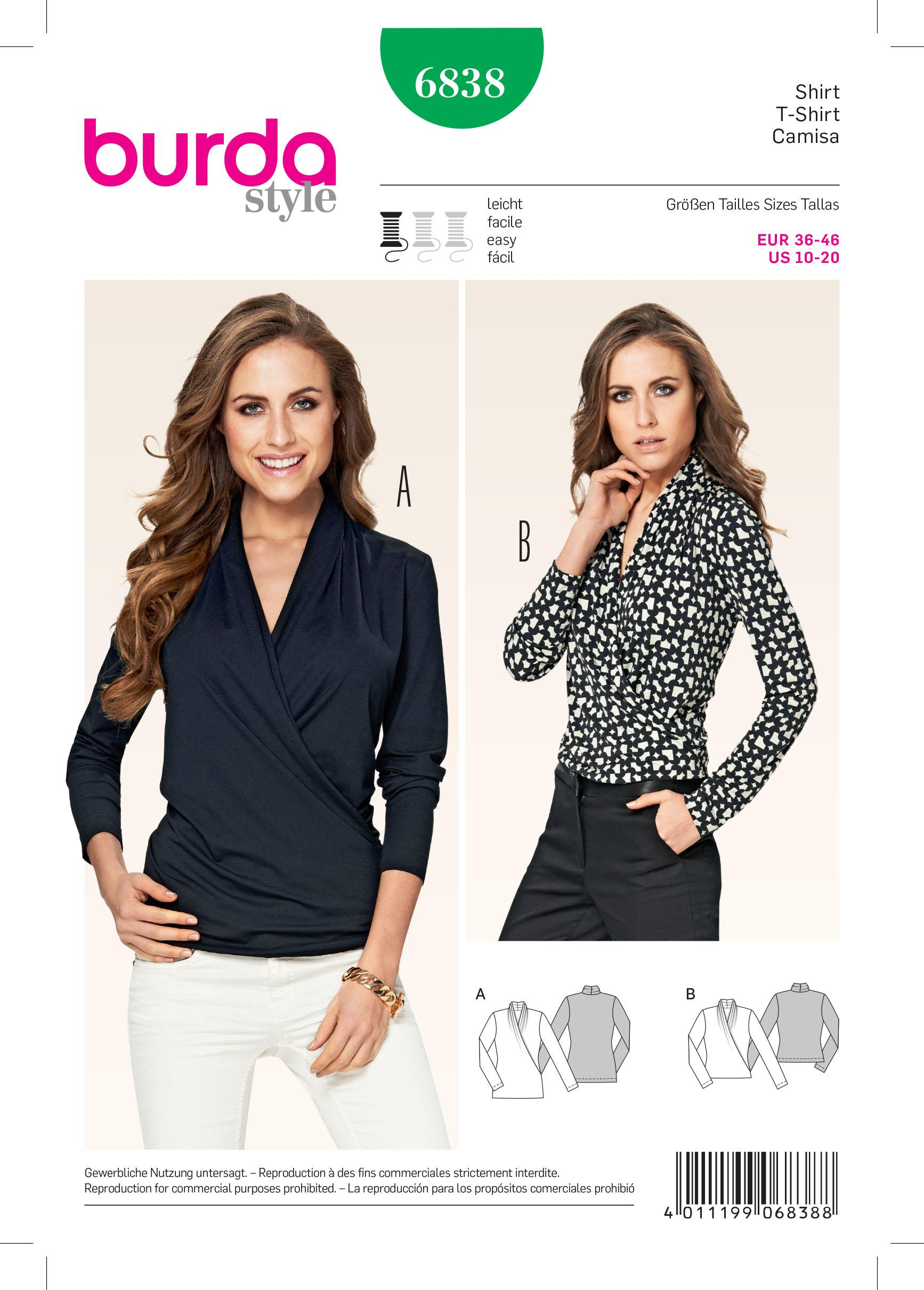 Burda B6838 Top, Shirt & Blouse Sewing Pattern