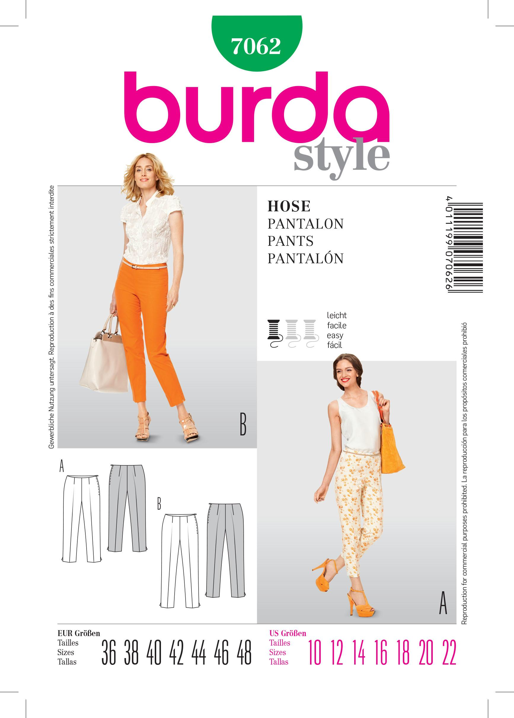 Burda B7062 Trousers Sewing Pattern