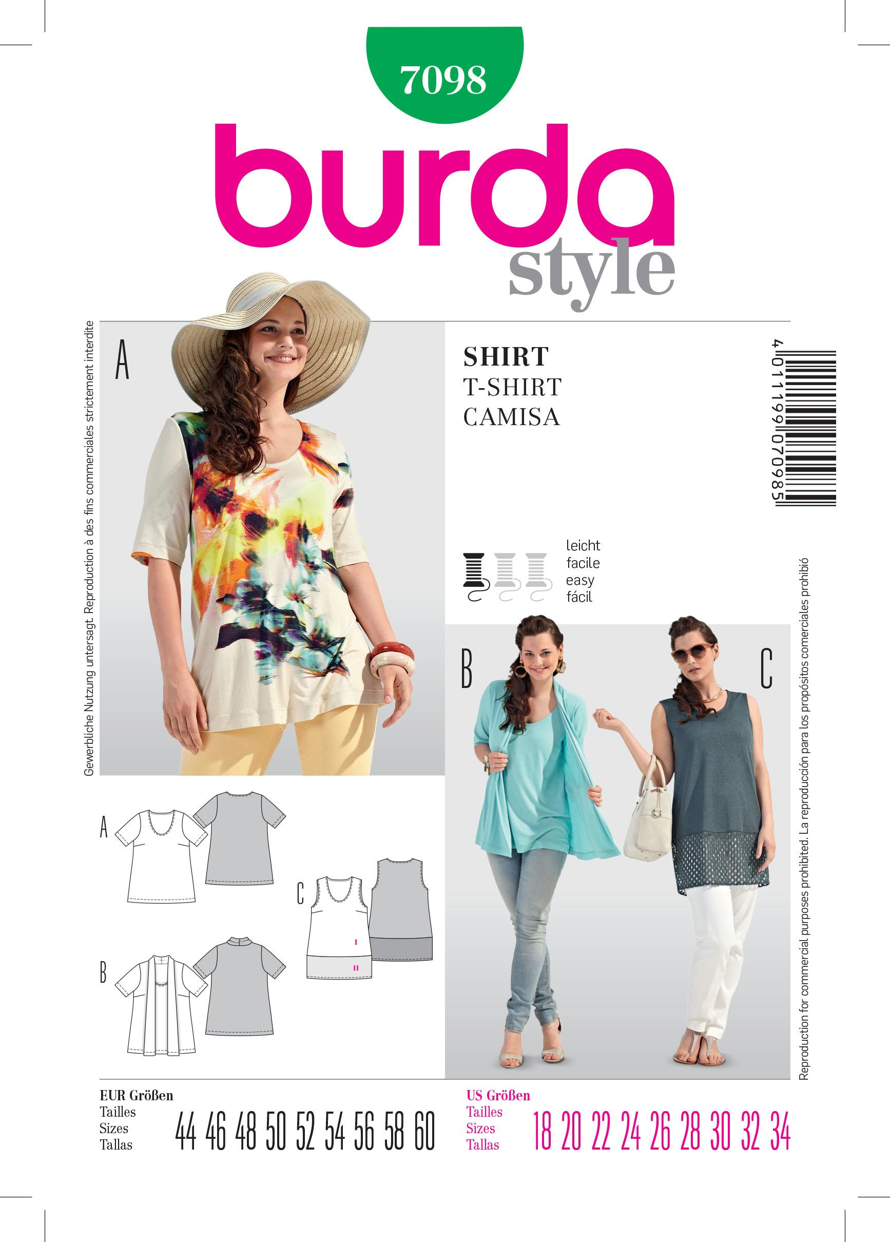 Burda B7098  T-Shirt Sewing Pattern
