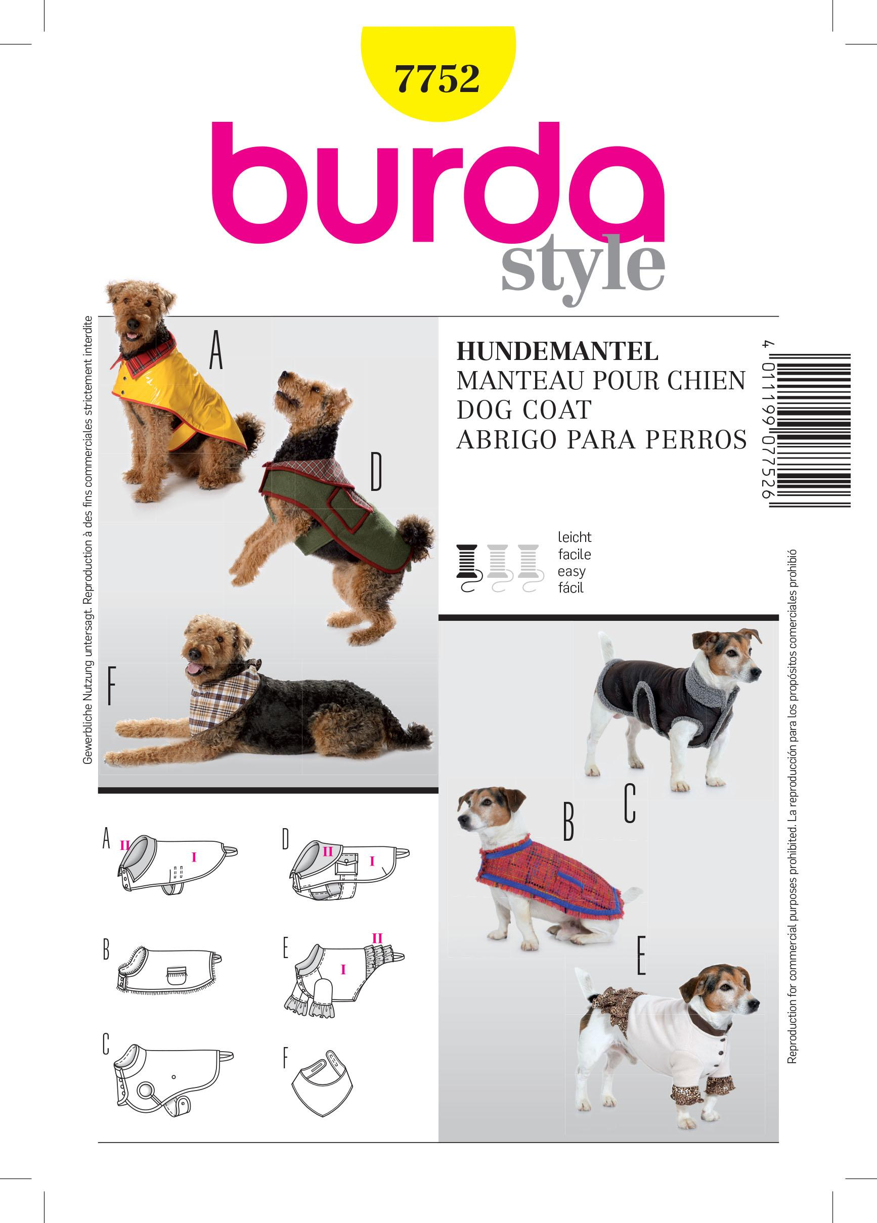 Burda B7752 Dog Coat Sewing Pattern