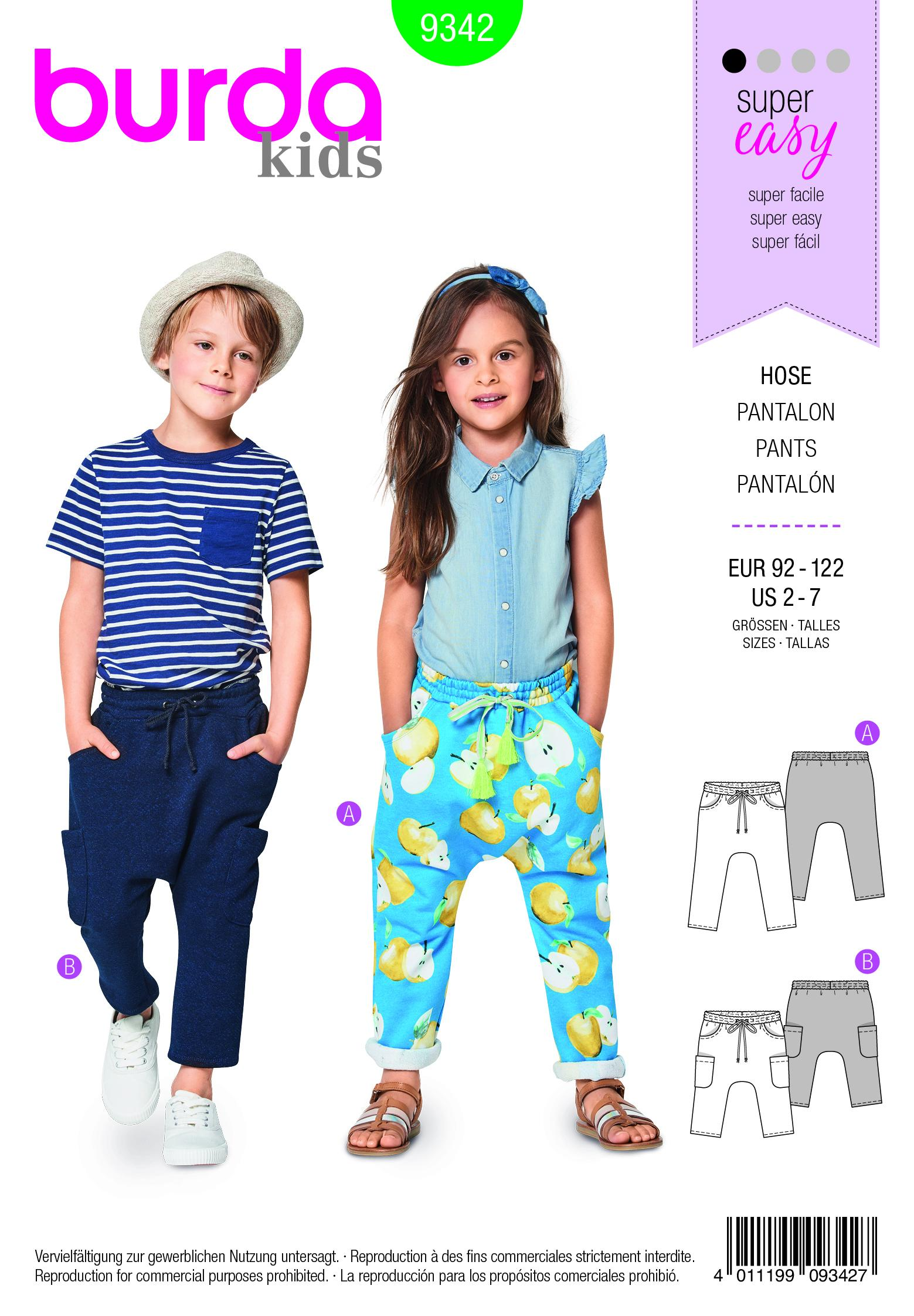 Burda B9342 Child's Elastic Waistband Trousers